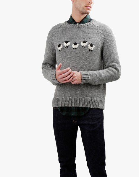 01 sheep thrills sweater tweedgrey ivorywhite spaceblack